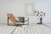 image of recliner  - 3D Rendering of Minimalist living area interior design with a contemporary slatted wooden recliner in a rustic white room with painted wooden floor and flower arrangement - JPG