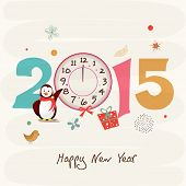 Kiddish greeting card decorated with penguin, clock showing twelve 'o' clock on abstract background for Happy New Year 2015 celebrations.