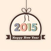 Happy New Year 2015 celebration with stylish text in hanging frame, can be use as poster, banner or flyer.