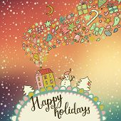Northern lights concept card. Ideal winter holiday background with bright sky, house, trees and snowman in vector. Stylish Christmas and new year illustration