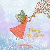 Bright Merry Christmas card in vector. Cute cartoon Fairy in the sky with bokeh effect. Stylish holiday background