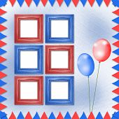 Bright Multicolored Background With Frames, Balloons And Confetti