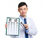 Optical doctor with eye chart and glasses