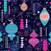 Stylish vintage Christmas and New Year seamless pattern in vector. Seamless pattern can be used for wallpapers, pattern fills, web page backgrounds, surface textures.