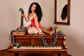 Christmas sexy girl on piano, with gifts