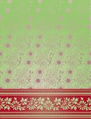 Pink And Green Floral Indian Saree Background.eps