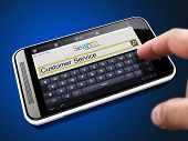 Customer Service in Search String on Smartphone.