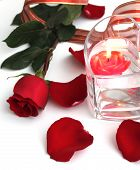 Red rose and red candle