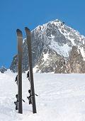 Ski in mountains on winter resort