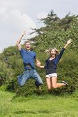 Cute couple jumping and smiling at home in the garden