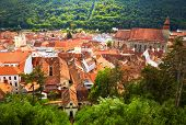 Historic city center in Brasov (Kronstadt). Transylvania, Romania