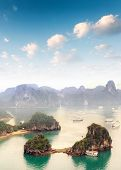Beautiful landscape of Halong Bay in Vietnam South Asian sea. Popular travel destination