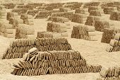Mud brick factory, Shibam, Hadhramaut, Yemen.