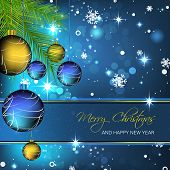 Christmas vector background with christmas balls and snowflakes