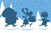 Santa Claus,Reindeer And Elf Running In Christmas Night Silhouettes Design Card