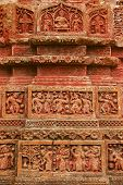 stock photo of radha  - Terracotta figures at Pancharatna Govinda Temple in Puthia - JPG