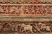 Terracotta figures at Pancharatna Govinda Temple in Puthia, Bangladesh.
