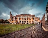 Colosseum in Rome at sunset, Italy