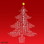 Vector concept or conceptual white Christmas or Celebration tree isolated on a red background made of text or words wordcloud