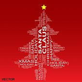Vector concept or conceptual white Christmas or Santa Claus tree isolated on a red background made of text or words wordcloud