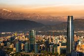 image of andes  - View of Santiago de Chile with Los Andes mountain range in the back - JPG