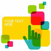 Colorful Flat Touch Interface Background Template. Hand Pointer Symbol. Vector Illustration