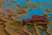 Layers Of Limestone Travertine Near The Crystal Geyser Utah Close-up