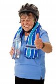 Senior Cyclist Woman With Water Bottle
