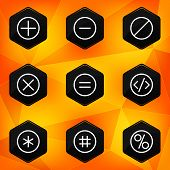 Symbol. Hexagonal icons set on abstract orange background