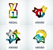 Colorful award business logo set, abstract color shape design