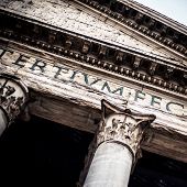 Italy rome ancient pantheon monument facade view