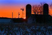 Winter Farm Sunset
