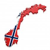detailed illustration of a map of Norway with flag, eps10 vector