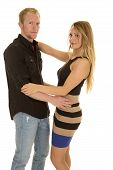 Woman Funny Expression Arms Around Man