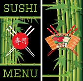 Template For Sushi Menu With Bamboo On Black Background