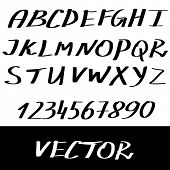Abstract Vector Alphabet. Hand drawn letters and numbers.