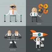Set of flat design concept images for infographics, business, web, consultation, startup