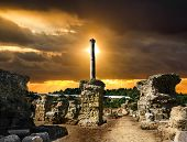 Baths Of Antonius In Carthage Tunisia .sunset