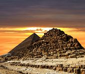 Pyramids At Giza On The Background Of The Sunset,cairo, Egypt