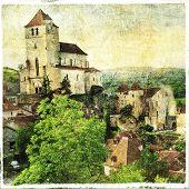 Saint-Cirq-Lapopie - fairy village in France, artistic picture