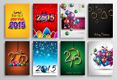stock photo of christmas greetings  - Set of 2015 New Year and Happy Christmas background for your flyers - JPG