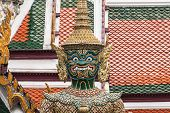 Green Giant Guardian In Wat Phra Kaew Temple ,bangkok,thailand