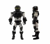 picture of armor suit  - Isolated armored toy soldier in black sci - JPG