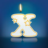 Candle letter X with flame - eps 10 vector illustration