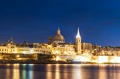 picture of shoreline  - Valletta seafront skyline view as seen from Sliema shoreline Malta - JPG