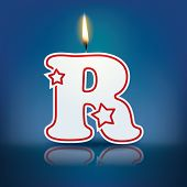 Candle letter R with flame - eps 10 vector illustration