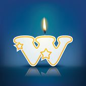 Candle letter w with flame - eps 10 vector illustration