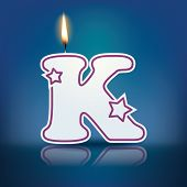 Candle letter K with flame - eps 10 vector illustration