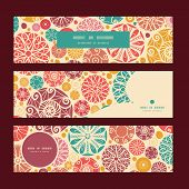 Vector abstract decorative circles horizontal banners set pattern background