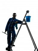 one  man window cleaner worker silhouette in studio on white background